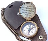 NEOVIVID Thoreau's Go Confidently Quote Engraved Compass with Stamped Leather case, Camping Compass, Boating Compass, Gift Compass, Graduation Day Gifts