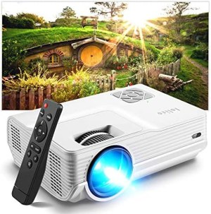 "Mini Projector, Iolieo 5500 Lumen 1080P Supported Projectors, 200"" Display 50000 Hrs LED Life, Dual Speakers Portable Projector, Compatible with HDMI, USB, VGA, TF, PS4, Laptop, DVD for Home Cinema"