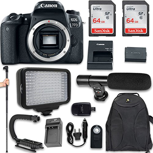 Canon EOS 77D DSLR Camera (Body Only) + 120 LED Video Light + Large Monopod + 128GB Memory + Shotgun Microphone + Camera & Flash Grip Handle Stabilizer