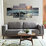 5 Pieces Beach Canvas Wall Art Set Ink&flowerart Modern Landscape Dusk Beach Scenery Wood Framed Artwork for Living Room Home Decorations Wall Decor Ready to Hang