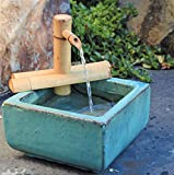 Bamboo Accents Zen Garden Water Fountain Spout, Indoor/Outdoor, Adjustable 7-Inch Half-Round Flat Base, Smooth Split-Resistant Bamboo (Container Not Included)