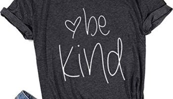 6ff441be Womens Be Kind T Shirt Summer Letter Print Short Sleeve Loose Tops  Inspirational Graphic Tees