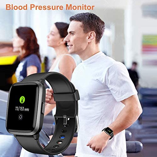 YAMAY Smart Watch 2020 Ver. Watches for Men Women Fitness Tracker Blood Pressure Monitor Blood Oxygen Meter Heart Rate Monitor IP68 Waterproof, Smartwatch Compatible with iPhone Samsung Android Phones 8