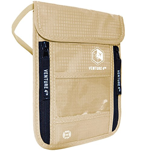 Venture4th Passport Holder Neck Pouch With RFID Blocking - Hidden Neck...