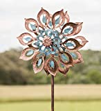 Plow & Hearth Copper Lily Wind Spinner - 24 Dia. x 10.25 D x 75 H
