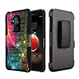Capsule Case Compatible with T-Mobile Revvl 2 Plus, Alcatel 7 Folio, Alcatel 7 (2018) Metro PCS [Kickstand Holster Combo Heavy Duty Protection Case Black] - (Stars in Space)