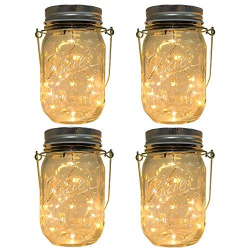 4-Pack Solar-powered Mason Jar Lights (Mason Jar & Handle Included),10 Bulbs Warn White Jar Hanging Light,Garden Outdoor Solar Lanterns,Hanging Lantern,Decor Solar Light,Table Light,Patio Path Light