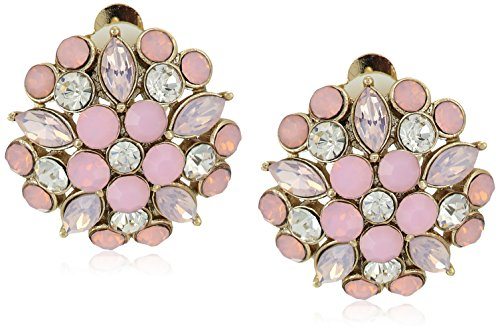 """51ePBzLhd4L 2/3"""" diameter gold/pink & white opal crystal clip on"""