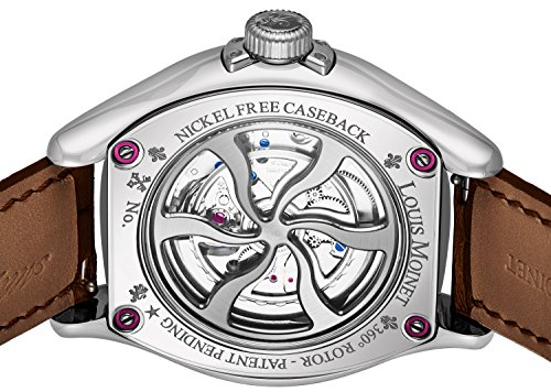 Louis Moinet Spiroscope Mens Stainless Steel Automatic Watch - 45mm Silver Face Casual Watch with Luminous Hands and Sapphire Crystal - Brown Leather Band Swiss Made Luxury Watch for Men LM.12.10.60