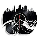 SUPERMAN vinyl wall clock - great gift for birthday, anniversary or any other occasion - beautiful home decor - unique design that made out of retro vinyl record …