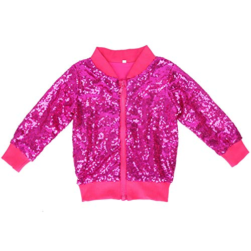Cilucu Kids Jackets Girls Boys Sequin Zipper Coat Jacket for Toddler Birthday Christmas Clothes Bomber Hot Pink 3-4T