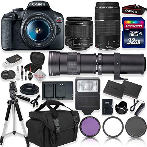 Canon EOS Rebel T7 DSLR Camera with 18-55mm EF-S f/3.5-5.6 is II Lens & EF 75-300mm f/4-5.6 III Lens + 420-800mm Zoom Lens + 32GB High Speed Memory + Camera Bag + Full Accessory Bundle