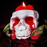 My Geek Things Handmade Novelty Crying Skull Candle Holder with a Brain Candle (White/Red)