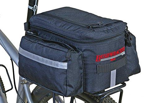 Bushwhacker Mesa Trunk Bag Black - w/ Rear Light Clip Attachment & Reflective Trim - Bicycle Trunk Bag Cycling Rack Pack Bike Rear Bag