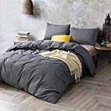 ATsense Duvet Cover, Bedding Duvet Cover Set, 100% Washed Cotton, 3-Piece, Ultra Soft and Easy Care, Simple Style Bedding Set (California King, Dark Grey 7003-4)