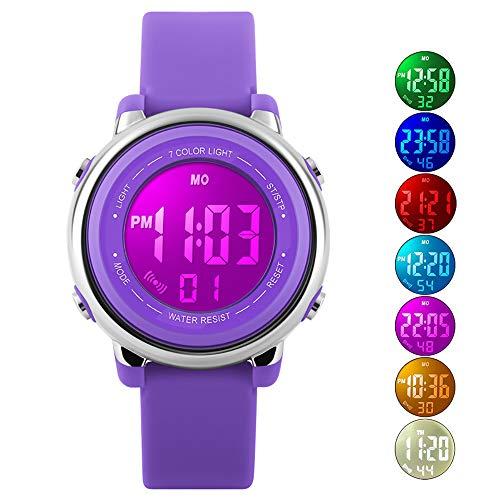Kids Watch Sport Multi Function 50M Waterproof LED Alarm Stopwatch Digital Child Wristwatch for Boy Girl Purple