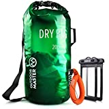 OutdoorMaster Dry Bag OPAK - Waterproof, Lightweight Dry Sack with 2 x FREE Waterproof Cell Phone Cases - for the Beach, Boating, Fishing, Kayaking, Swimming, Rafting (Green, 20L)