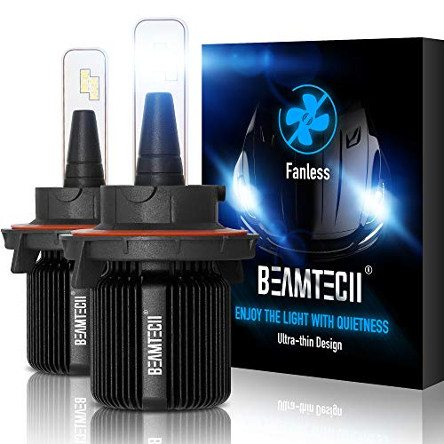 BEAMTECH H13 LED Headlight Bulbs,Fanless CSP Y19 Chips 8000 Lumens 6500K Xenon White 9008 Hi/Lo Extremely Bright Conversion Kit of 2