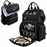 INNO STAGE Fish Mouth Picnic Backpack for 4, Insulated Cooler Bag with Wide Open Large Capacity, Free Waterproof Beach Blanket, 9' Plates, Wooden Handle Cutlery Set for Outdoor Camping Best