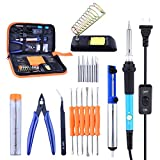Soldering Iron Kit for electronics, Esolom 60W Adjustable Temperature Welding Tool with ON/OFF Switch, 5 Soldering Tips, 6 Aid Tips, Solder Sucker, Tin Wire Tube, Tweezers, Scissors, Soldering Stand