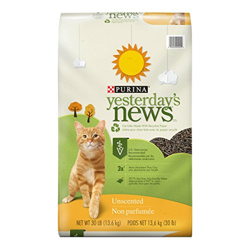 Purina Yesterday's News Non Clumping Paper Cat Litter; Unscented Low Tracking Cat Litter - 30 lb. Bag