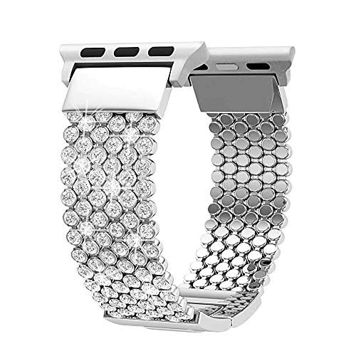 FresherAcc Compatible with Apple Watch Band 40mm 38mm iWatch Bands Series 4 3 2 1 Women Girls, Crystal Rhinestone Replacement Strap, Mesh Chain Jewelry Wristband (Silver 40mm/38mm)