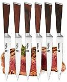 Tyrellex Steak Knives | Premium Steak Knife Set (6 Pieces and Wood Gift Box)