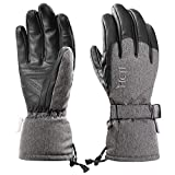 MCTi Ski Gloves Winter Waterproof Snowboard Snow Warm 3M Thinsulate PU Leather Cold Weather Gloves for Mens Womens Grey Small