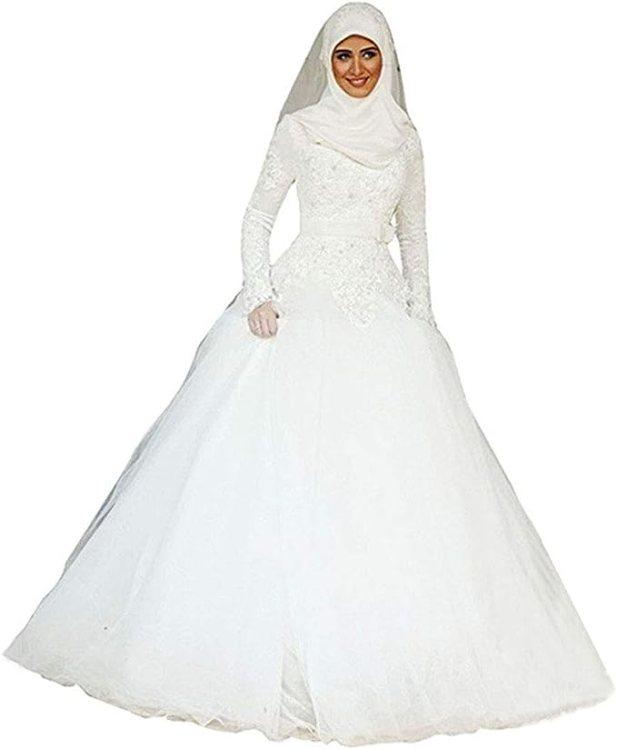 Emmani Women's Muslim Style Bride Wedding Dresses at Amazon Women's Clothing  store
