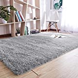 Noahas Super Soft Modern Shag Gray Area Rugs Fluffy Living Room Carpet Comfy Bedroom Home Decorate Floor Kids Playing Mat 4 Feet by 5.3 Feet,Gray