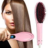 Bankcroft Export Hair Electric Comb Brush 3 in 1 Ceramic Fast Hair Straightener For Women's Hair Straightening Brush with LCD Screen, Temperature Control Display,Hair Straightener For Women (Pink)