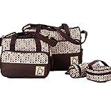 zitan Diaper Bag Set for Boys Girls 5pcs Set Shoulder Stroller Straps Tote Includes Padded Changing Pad