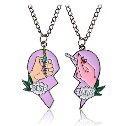 QIHOO Broken Heart Marijuana Leaf Best Buds BFF Best Friends Valentine Cannabis Pot Matching Pendant Necklaces Gift Set of 2...