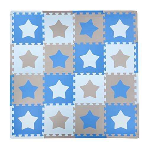 Tadpoles Baby Play Mat, Kid's Puzzle Exercise Play Mat - Soft EVA Foam Interlocking Floor Tiles, Cushioned Children's Play Mat, 16pc, Stars, Blue/Grey, 50x50