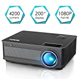 Projector, WiMiUS P18 Upgraded 4200 Lumens LED Projector Support 1080P 200' Display 50,000H LED Compatible with Amazon Fire TV Stick Laptop iPhone Android Phone Xbox Via HDMI USB VGA AV Black