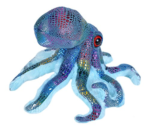 Wild Republic Octopus Plush Stuffed Animal Toy, Gifts for Kids, Glitter, Blue, 14 Inches