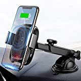 Baseus Wireless Car Charger Mount, 10w Automatic Infrared Qi Fast Charging Car Phone Holder Dashboard Compatible with iPhone Xs/Xs Max/XR/X, Galaxy Note 9/ S9/ S9+ & Other Qi-Enabled 4.0-6.5in
