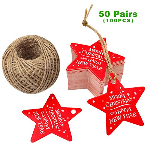 G2PLUS 100 PCS Star Shaped Christmas Gift Tags with String, 'Merry Christmas' Paper Hang Tags with 100 Feet Natural Jute Twine (Red)
