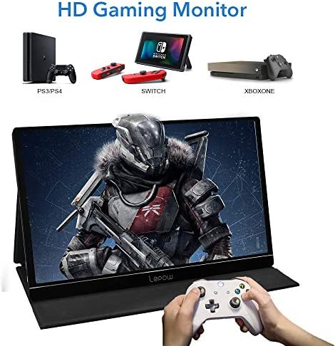 Portable Monitor - Lepow 15.6 Inch Full HD 1080P USB Type-C Computer Display IPS Eye Care Screen with HDMI Type C Speakers for Laptop PC PS4 Xbox Phone Included Smart Cover & Screen Protector Black 14