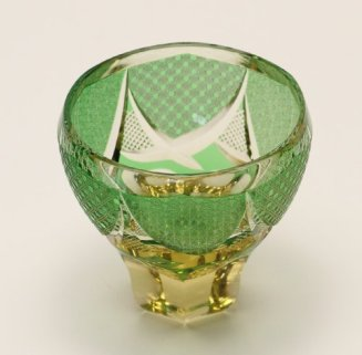 Edo Kiriko Guinomi (Sake Glass): Green