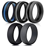 Saco Band Silicone Wedding Rings - Middle Line & Plain (Middle Line Blu Gray Black, Plain Gray Black, 9.5-10 (19.8mm))