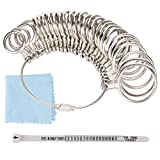 Jewelry Sizers Stainless Iron Ring Sizer Finger Ring Sizing Measuring Tool Ring Sizer Gauge Set Circle Models with Plastic Ring Sizer Belt