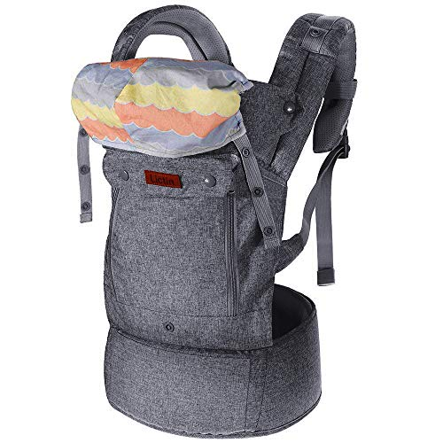 Lictin Baby Carrier for Newborn - Baby Carriers Front and Back, Breathable Adjustable Ergonomic Baby Backpack Carrier for Infant up to 33 lbs/ 15 kg, Gray