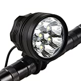 Weihao Bicycle Headlight, 10500 Lumens 7 LED Bike Light, Waterproof Mountain Bike Front Light Headlamp with 96000mAh Rechargeable Battery Pack, AC Charger