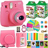 FujiFilm Instax Mini 9 Instant Camera + Fuji Instax Film (40 Sheets) + Batteries + Accessories Bundle - Carrying Case, Color Filters, Photo Album, Stickers, Selfie Lens + More (Flamingo Pink)