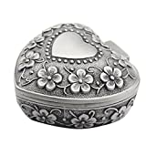 AVESON Classic Vintage Antique Heart Shape Jewelry Box Ring Small Trinket Storage Organizer Chest Christmas Gift, Silver