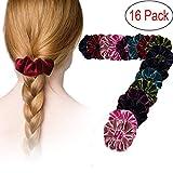 LPVLUX 16 Pieces Hair Scrunchies Velvet Elastics Scrunchy Bobbles Soft Hair Bands Hair Ties (Pack 16)