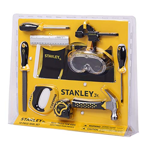 Stanley Jr. 10-Piece Kids Tool Set with Tool Belt Pouch and Real Construction Tools for Pretend Play Toys or Building and Woodworking Activities