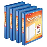 """Cardinal Economy 1"""" Round-Ring Presentation View Binders, 3-Ring Binder, Holds 225 Sheets, Nonstick Poly Material, PVC-Free, Blue, 4-Pack (79511)"""
