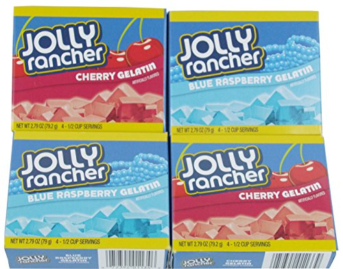 Jolly Rancher Jello: Fun Patriotic Colors - 2 Cherry & 2 Blue Raspberry - 2.79oz Box (Pack of 4)